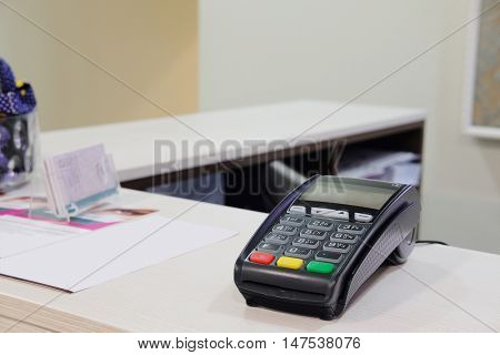 The image of a plastic card reader