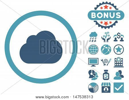 Cloud icon with bonus pictures. Vector illustration style is flat iconic bicolor symbols, cyan and blue colors, white background.