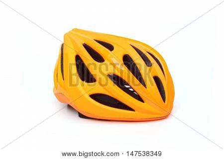 bicycle helmet in orange color isolated on white