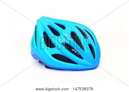 bicycle helmet in blue color isolated on white