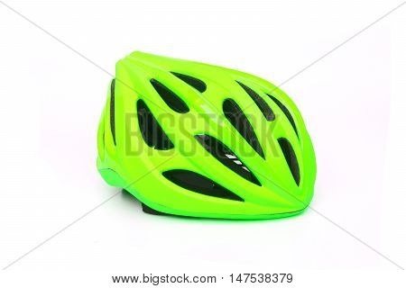 bicycle helmet in green color isolated on white