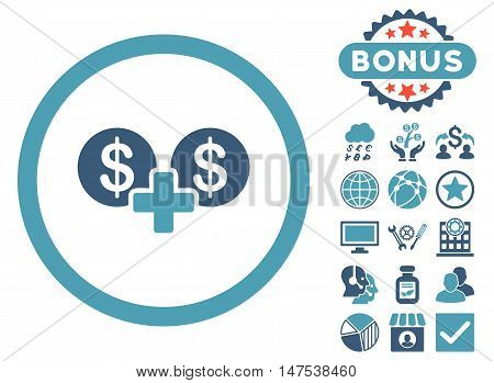 Coins Sum icon with bonus elements. Vector illustration style is flat iconic bicolor symbols, cyan and blue colors, white background.