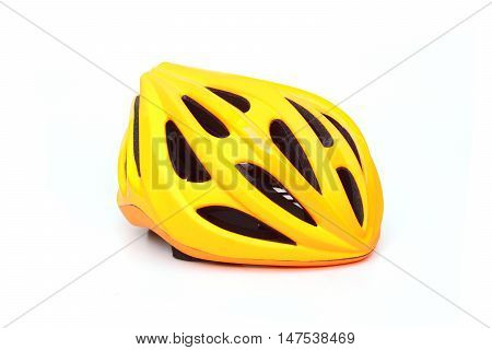 Bicycle helmet in yellow color isolated on white