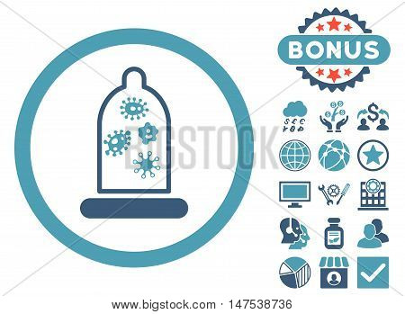 Condom Microbes icon with bonus elements. Vector illustration style is flat iconic bicolor symbols, cyan and blue colors, white background.