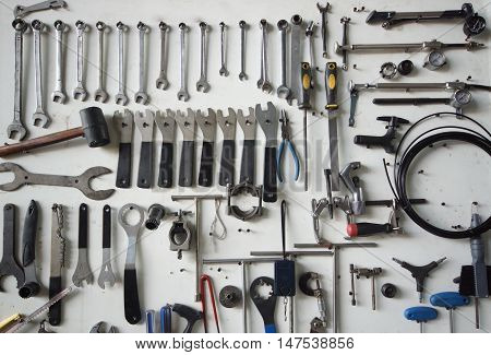 bicycle tools background for design and decoration