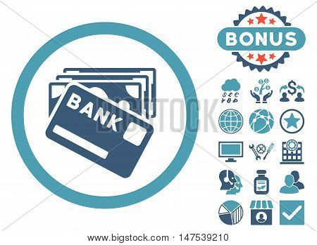 Credit Money icon with bonus elements. Vector illustration style is flat iconic bicolor symbols, cyan and blue colors, white background.