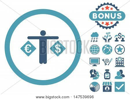 Currency Trader icon with bonus symbols. Vector illustration style is flat iconic bicolor symbols, cyan and blue colors, white background.