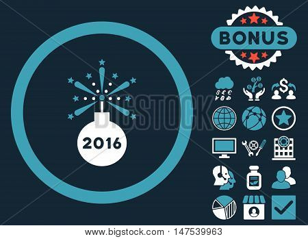 2016 Fireworks Detonator icon with bonus symbols. Vector illustration style is flat iconic bicolor symbols, blue and white colors, dark blue background.