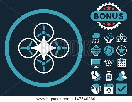 Air Drone icon with bonus pictures. Vector illustration style is flat iconic bicolor symbols, blue and white colors, dark blue background.