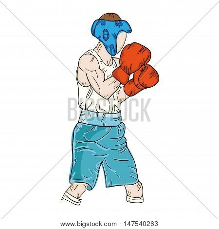 boxer man training boxing with protection sport equipment. vector illustration