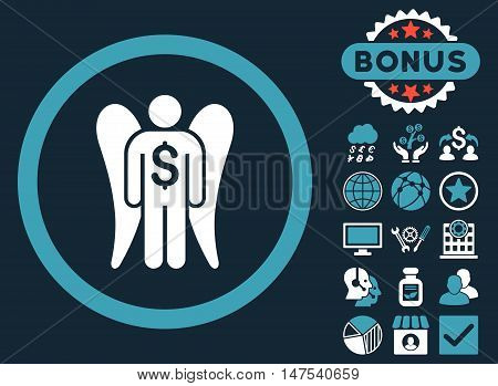 Angel Investor icon with bonus elements. Vector illustration style is flat iconic bicolor symbols, blue and white colors, dark blue background.
