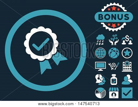 Approved icon with bonus symbols. Vector illustration style is flat iconic bicolor symbols, blue and white colors, dark blue background.