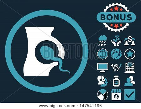 Artificial Insemination icon with bonus pictogram. Vector illustration style is flat iconic bicolor symbols, blue and white colors, dark blue background.
