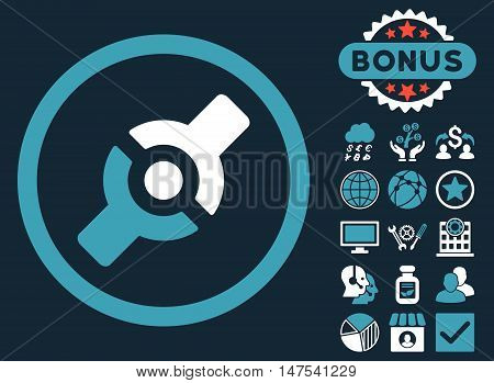 Artificial Joint icon with bonus images. Vector illustration style is flat iconic bicolor symbols, blue and white colors, dark blue background.