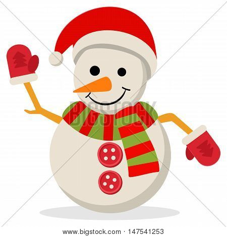 Snow Man in santa claus cap. Vector illustration isolated on white. Merry christmas concept with snowman in scarf gloves and hat.