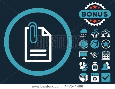 Attach Document icon with bonus pictogram. Vector illustration style is flat iconic bicolor symbols, blue and white colors, dark blue background.