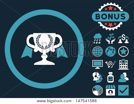 Award Cup icon with bonus symbols. Vector illustration style is flat iconic bicolor symbols, blue and white colors, dark blue background.