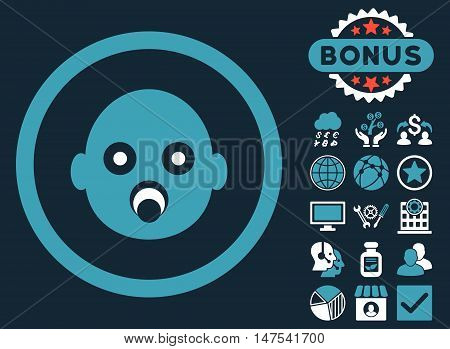 Baby Head icon with bonus elements. Vector illustration style is flat iconic bicolor symbols, blue and white colors, dark blue background.