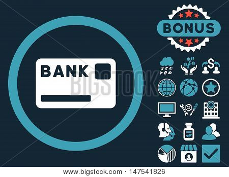 Bank Card icon with bonus pictogram. Vector illustration style is flat iconic bicolor symbols, blue and white colors, dark blue background.