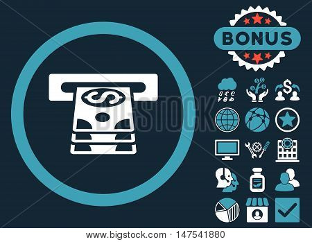 Bank Cashpoint icon with bonus design elements. Vector illustration style is flat iconic bicolor symbols, blue and white colors, dark blue background.