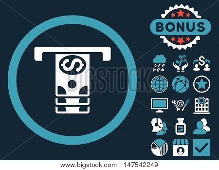 Banknotes Withdraw icon with bonus elements. Vector illustration style is flat iconic bicolor symbols, blue and white colors, dark blue background.