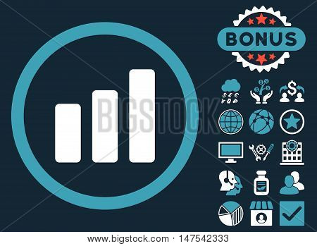 Bar Chart Increase icon with bonus pictures. Vector illustration style is flat iconic bicolor symbols, blue and white colors, dark blue background.