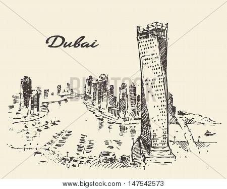 Dubai City skyline detailed silhouette. Hand drawn, engraved vector illustration