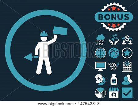 Builder With Shovel icon with bonus pictogram. Vector illustration style is flat iconic bicolor symbols, blue and white colors, dark blue background.