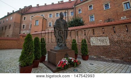 KRAKOW, POLAND - SEP 7, 2016: On-site Wawel Royal Castle, residency built at the behest of King Casimir III the Great, reigned 1333-1370. The most historically and culturally important site in Poland.