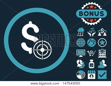 Business Target icon with bonus images. Vector illustration style is flat iconic bicolor symbols, blue and white colors, dark blue background.