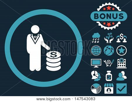 Businessman icon with bonus design elements. Vector illustration style is flat iconic bicolor symbols, blue and white colors, dark blue background.