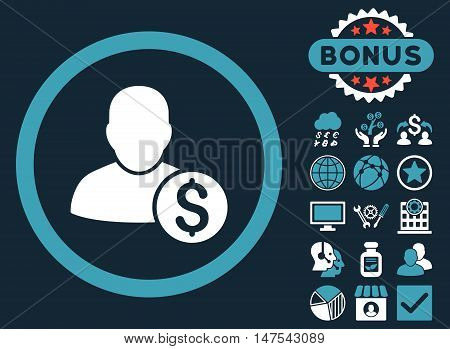 Businessman icon with bonus elements. Vector illustration style is flat iconic bicolor symbols, blue and white colors, dark blue background.