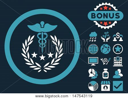 Caduceus Logo icon with bonus elements. Vector illustration style is flat iconic bicolor symbols, blue and white colors, dark blue background.