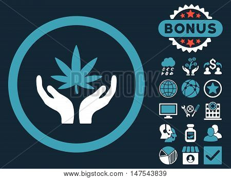 Cannabis Care Hands icon with bonus elements. Vector illustration style is flat iconic bicolor symbols, blue and white colors, dark blue background.