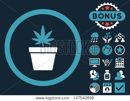 Cannabis Pot icon with bonus elements. Vector illustration style is flat iconic bicolor symbols, blue and white colors, dark blue background.