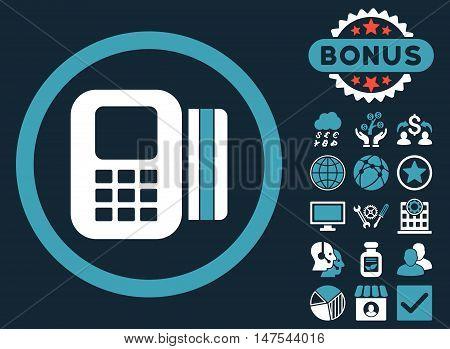 Card Processor icon with bonus symbols. Vector illustration style is flat iconic bicolor symbols, blue and white colors, dark blue background.