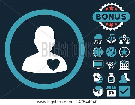Cardiology Patient icon with bonus pictures. Vector illustration style is flat iconic bicolor symbols, blue and white colors, dark blue background.