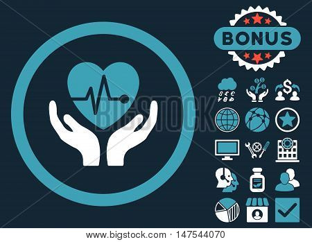 Cardiology icon with bonus elements. Vector illustration style is flat iconic bicolor symbols, blue and white colors, dark blue background.