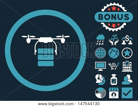 Cargo Drone icon with bonus pictogram. Vector illustration style is flat iconic bicolor symbols, blue and white colors, dark blue background.