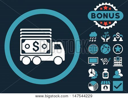Cash Lorry icon with bonus pictures. Vector illustration style is flat iconic bicolor symbols, blue and white colors, dark blue background.