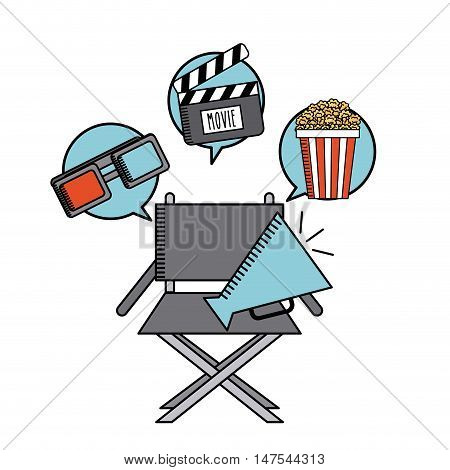 movie cinema flat line icon vector illustration design