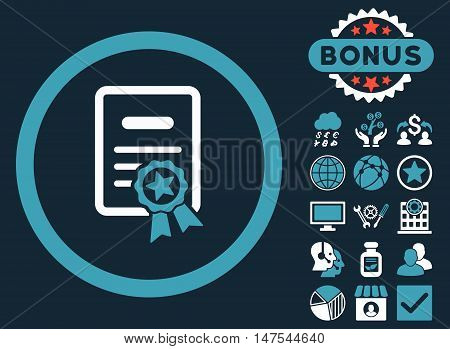 Certified Diploma icon with bonus elements. Vector illustration style is flat iconic bicolor symbols, blue and white colors, dark blue background.