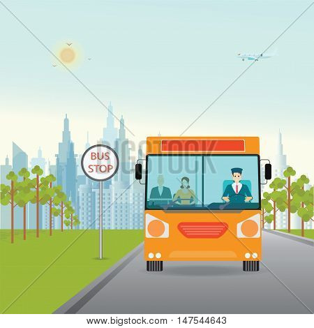 Bus with bus driver and passenger inside standing on bus stop city view on background transportation flat style vector illustration.