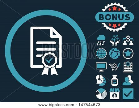 Certified icon with bonus symbols. Vector illustration style is flat iconic bicolor symbols, blue and white colors, dark blue background.