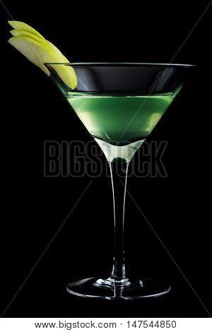 Apple Martini Cocktails On Black Background