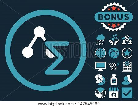 Chemical Formula icon with bonus elements. Vector illustration style is flat iconic bicolor symbols, blue and white colors, dark blue background.