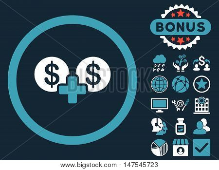 Coins Sum icon with bonus design elements. Vector illustration style is flat iconic bicolor symbols, blue and white colors, dark blue background.