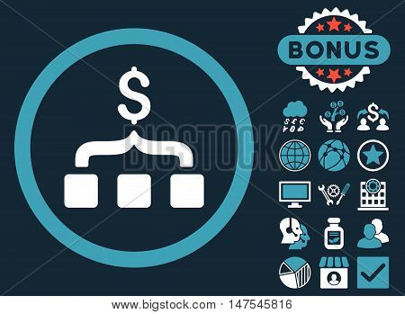 Collect Money icon with bonus pictogram. Vector illustration style is flat iconic bicolor symbols, blue and white colors, dark blue background.
