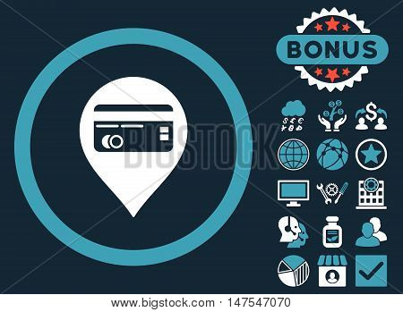 Credit Card Pointer icon with bonus design elements. Vector illustration style is flat iconic bicolor symbols, blue and white colors, dark blue background.