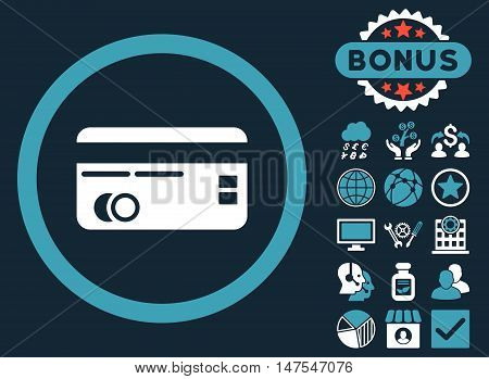 Credit Card icon with bonus elements. Vector illustration style is flat iconic bicolor symbols, blue and white colors, dark blue background.